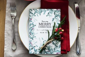 christmas card on a plate