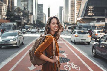 happy girl travelling