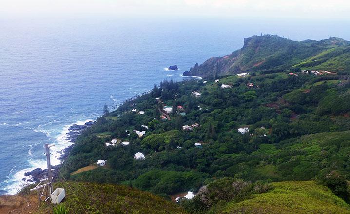 village on island shore
